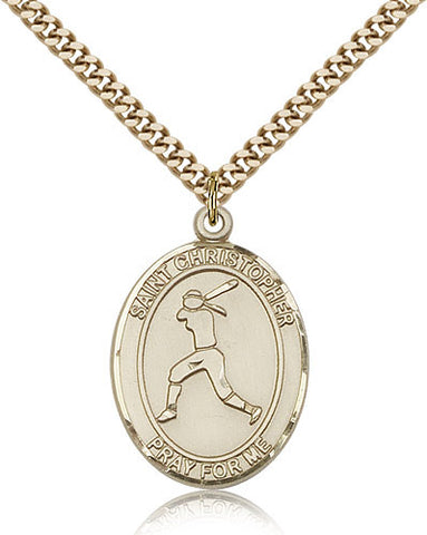 Gold Filled St. Christopher - Softball Medal with Chain Pendant