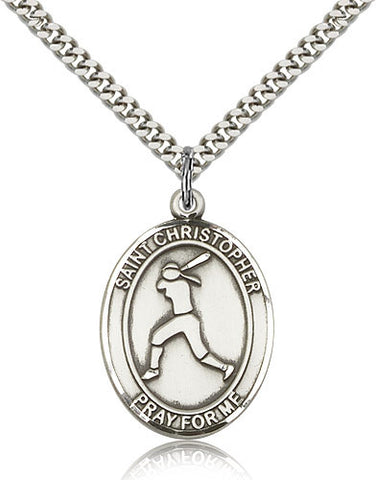 Sterling Silver St. Christopher Softball Medal with Chain Pendant