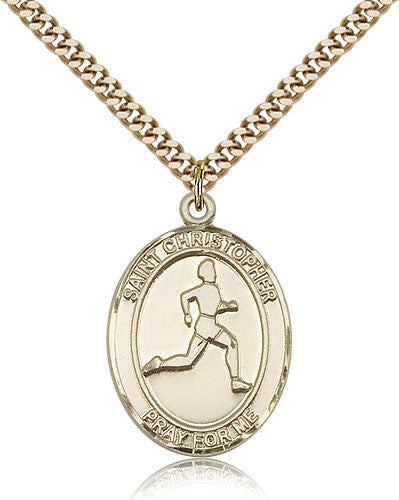 Gold Filled St. Christopher - Track and Field Medal with Chain Pendant