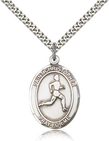 Sterling Silver St. Christopher Track & Field Medal with Chain Pendant