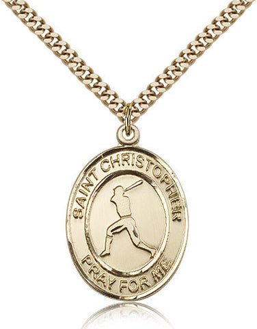 Gold Filled St. Christopher - Baseball Medal with Chain Pendant