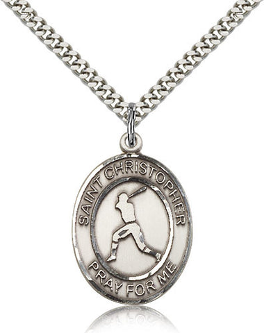 Sterling Silver St. Christopher Baseball Medal with Chain Pendant