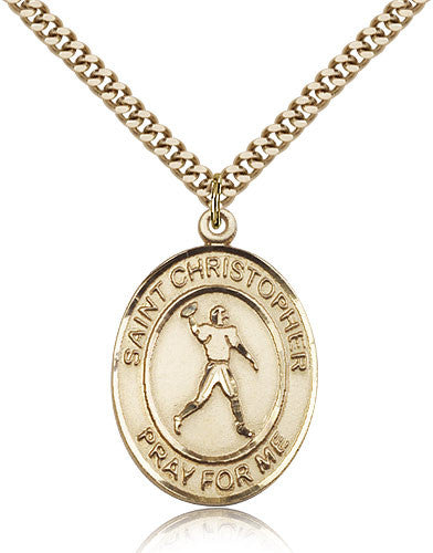 Gold Filled St. Christopher - Football Medal with Chain Pendant