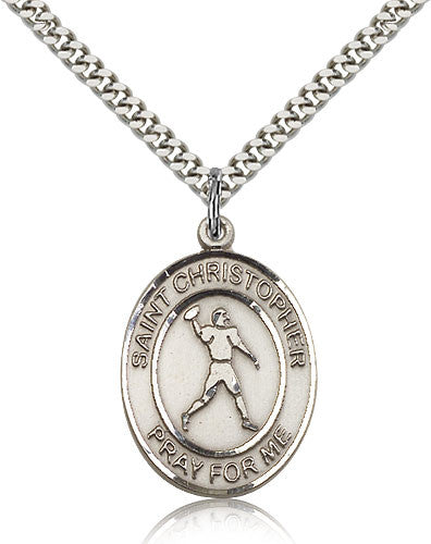 Sterling Silver St. Christopher Football Medal with Chain Pendant