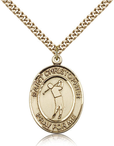 Gold Filled St. Christopher - Golf Medal with Chain Pendant