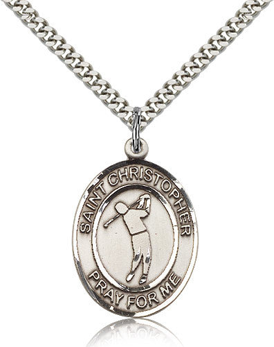 Sterling Silver St. Christopher Golf Medal with Chain Pendant