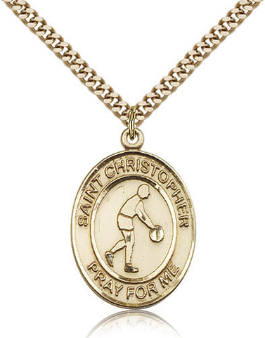 Gold Filled St. Christopher - Basketball Medal with Chain Pendant