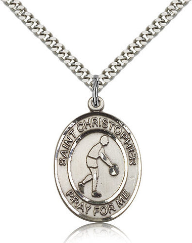 Sterling Silver St. Christopher Basketball Medal with Chain Pendant