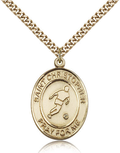 Gold Filled St. Christopher - Soccer Medal with Chain Pendant