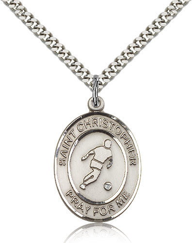 Sterling Silver St. Christopher Soccer Medal with Chain Pendant