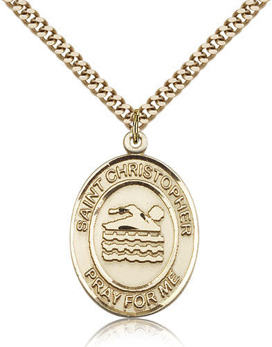 Gold Filled St. Christopher - Swimming Medal with Chain Pendant