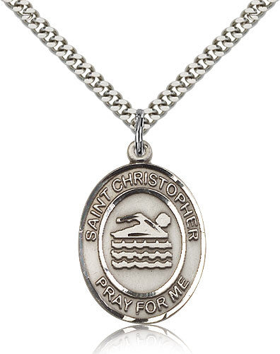 Sterling Silver St. Christopher Swimming Medal with Chain Pendant