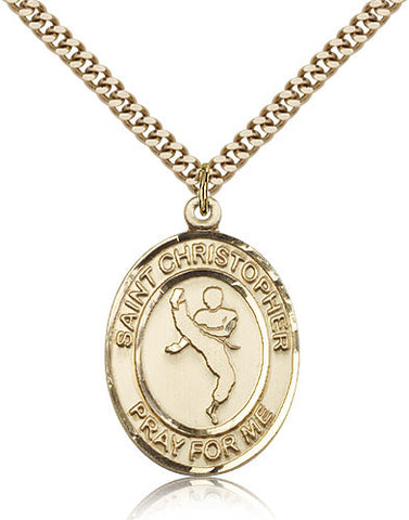 Gold Filled St. Christopher - Martial Arts Medal with Chain Pendant