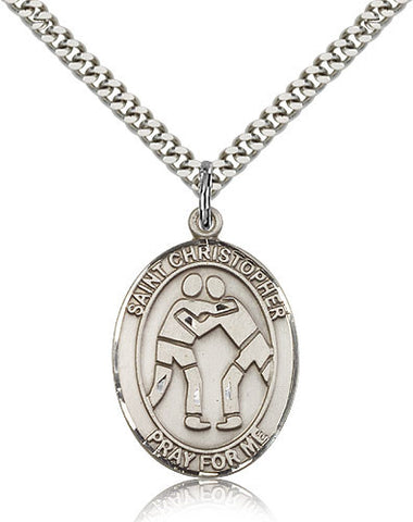 Sterling Silver St. Christopher Wrestling Medal with Chain Pendant
