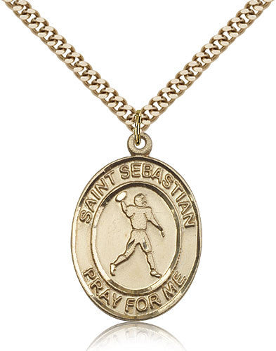 Gold Filled St. Sebastian - Football Medal with Chain Pendant