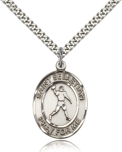 Sterling Silver St. Sebastian Football Medal with Chain Pendant