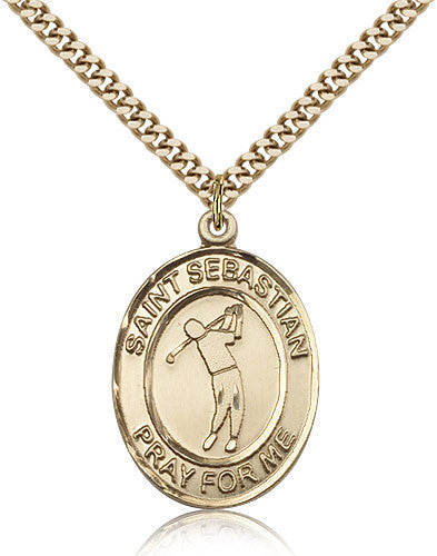 Gold Filled St. Sebastian - Golf Medal with Chain Pendant