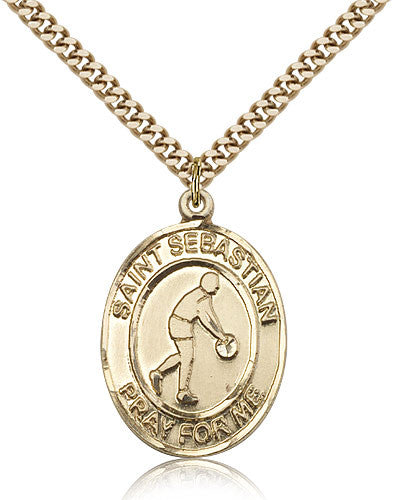 Gold Filled St. Sebastian - Basketball Medal with Chain Pendant