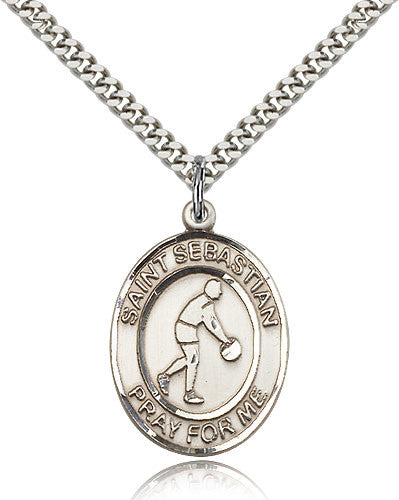 Sterling Silver St. Sebastian Basketball Medal with Chain Pendant