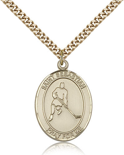 Gold Filled St. Sebastian - Ice Hockey Medal with Chain Pendant