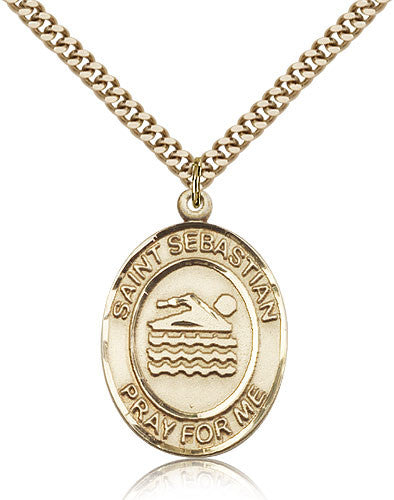 Gold Filled St. Sebastian - Swimming Medal with Chain Pendant