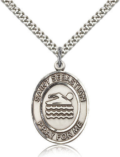 Sterling Silver St. Sebastian Swimming Medal with Chain Pendant