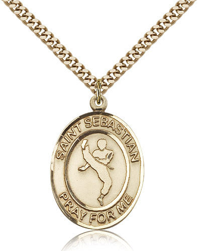 Gold Filled St. Sebastian - Martial Arts Medal with Chain Pendant