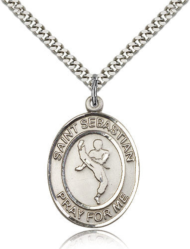 Sterling Silver St. Sebastian Martial Arts Medal with Chain Pendant