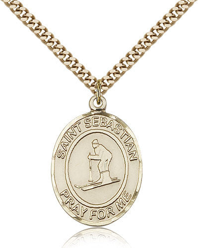 Gold Filled St. Sebastian - Skiing Medal with Chain Pendant