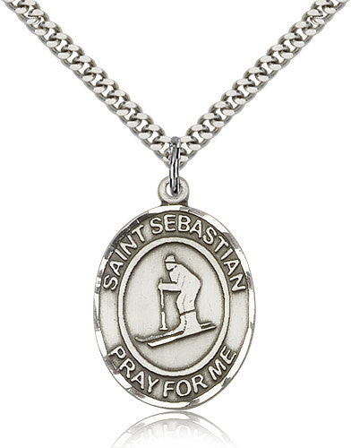 Sterling Silver St. Sebastian Skiing Medal with Chain Pendant