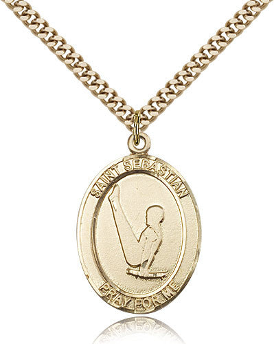 Gold Filled St. Sebastian - Gymnastics Medal with Chain Pendant