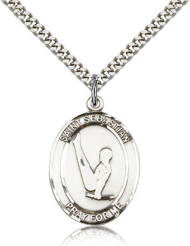 Sterling Silver St. Sebastian Gymnastics Medal with Chain Pendant