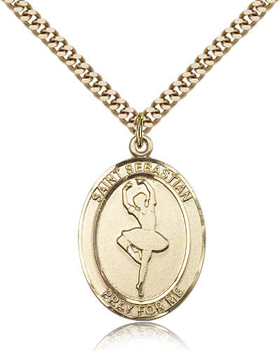 Gold Filled St. Sebastian - Dance Medal with Chain Pendant