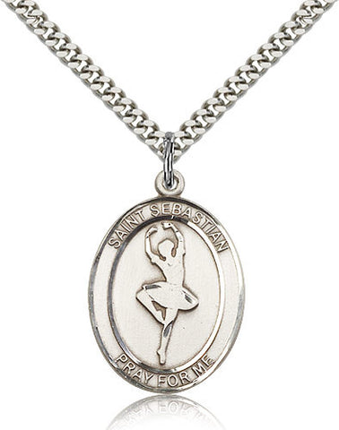 Sterling Silver St. Sebastian Dance Medal with Chain Pendant