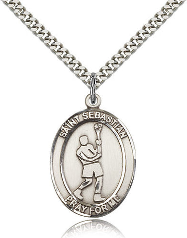 Sterling Silver St. Sebastian Lacrosse Medal with Chain Pendant