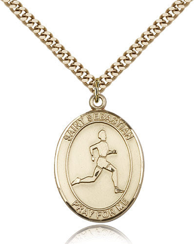 Gold Filled St. Sebastian - Track & Field Medal with Chain Pendant