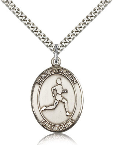 Sterling Silver St. Sebastian Track & Field Medal with Chain Pendant