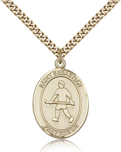 Gold Filled St. Sebastian - Field Hockey Medal with Chain Pendant