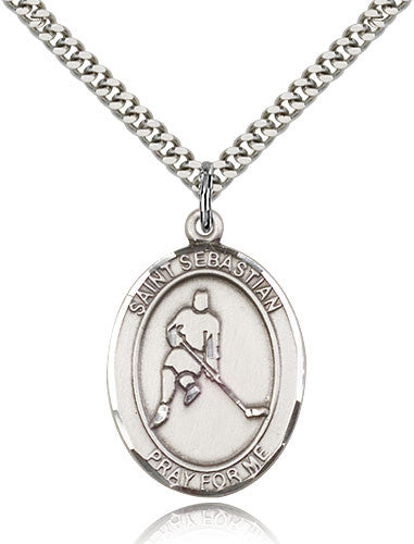 Sterling Silver St. Sebastian Hockey Medal with Chain Pendant