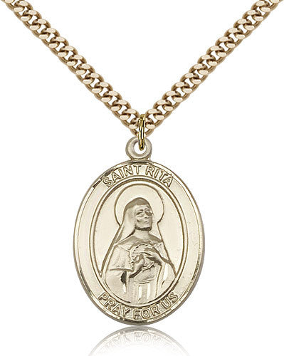Gold Filled St. Rita - Baseball Medal with Chain Pendant