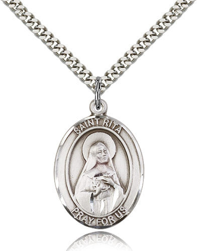 Sterling Silver St. Rita of Cascia Baseball Medal with Chain Pendant