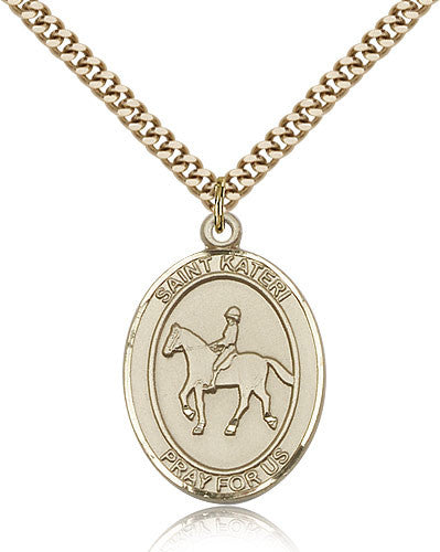 Gold Filled St. Kateri - Equestrian Medal with Chain Pendant