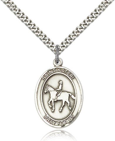 Sterling Silver St. Kateri Equestrian Medal with Chain Pendant