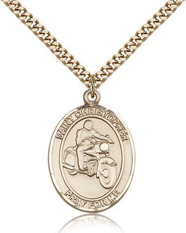 Gold Filled St. Christopher - Motorcycle Medal with Chain Pendant