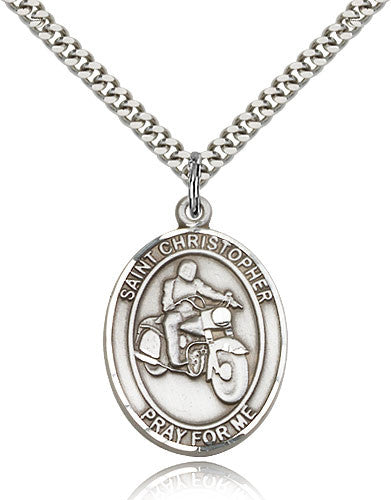 Sterling Silver St. Christopher Motorcycle Medal with Chain Pendant