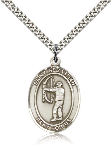 Sterling Silver St. Sebastian Archery Medal with Chain Pendant