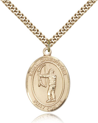 Gold Filled St. Christopher - Archery Medal with Chain Pendant