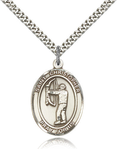 Sterling Silver St. Christopher Archery Medal with Chain Pendant