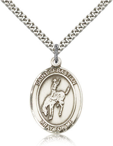 Sterling Silver St. Sebastian Rodeo Medal with Chain Pendant