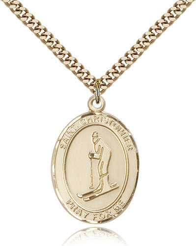Gold Filled St. Christopher - Skiing Medal with Chain Pendant